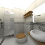 Банята акцентира върху серията санитарно оборудване, наподобяващо речни камъни